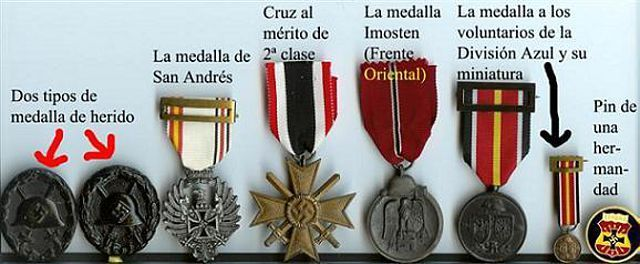 diferentes medallas otorgadas a los voluntarios españolesLa Division Azul Española | Mundo Historia