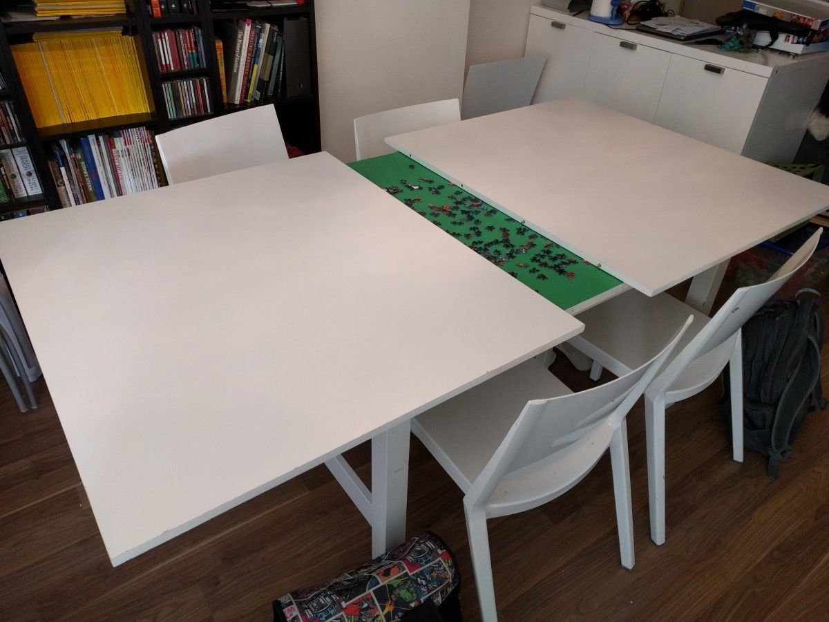 we made a concealed puzzle table from the ikea norden table to hide our puzzles in - Drafting Table Ikea