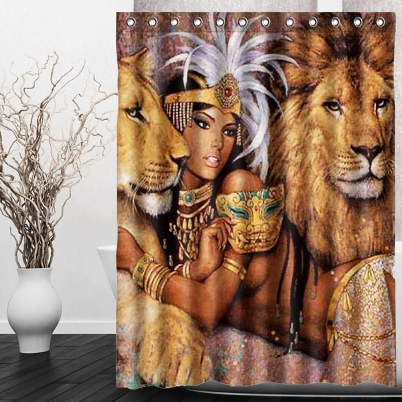 Beautiful Woman With Lions Shower Curtain Bathroom Shower