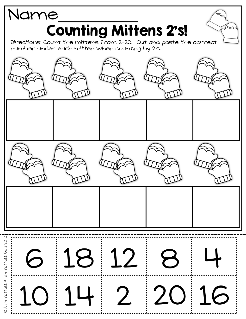 Count by 2's (cut and paste) Homeschool math, Math for