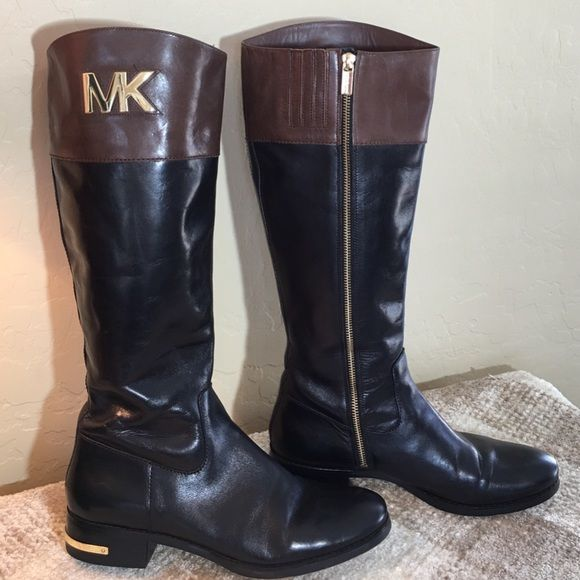 0bb893ee2ffc Michael Kors Brown  amp  Black Tall Riding Boots Michael Kors Fabulous Two-  Toned Brown