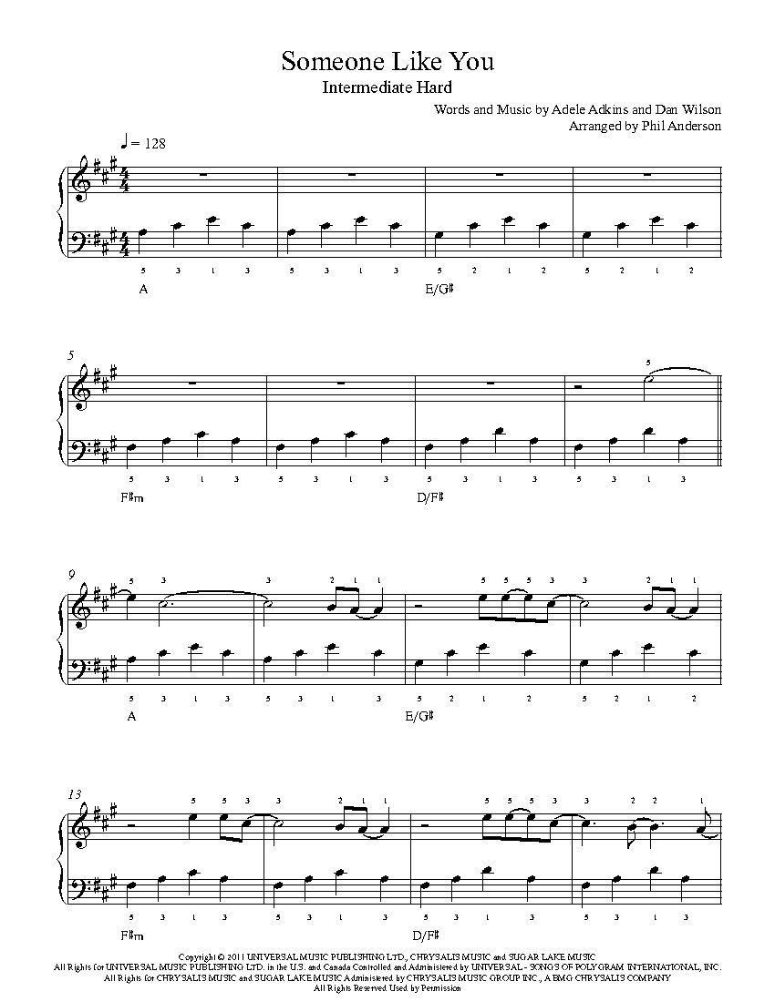 Someone Like You By Adele Piano Sheet Music Intermediate Level