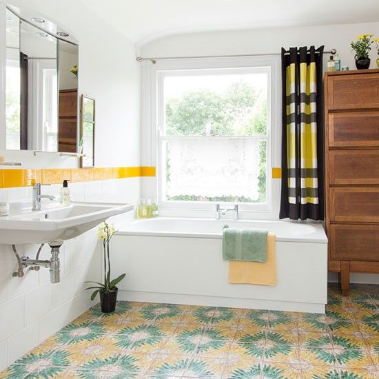 White Retro Bathroom Yellow Bathrooms Yellow Bathroom Decor
