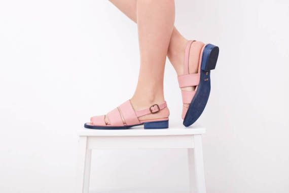 ed5f4e3860e Pink Leather Sandal flat Slingbacks Strips women s sandals Geometric ...