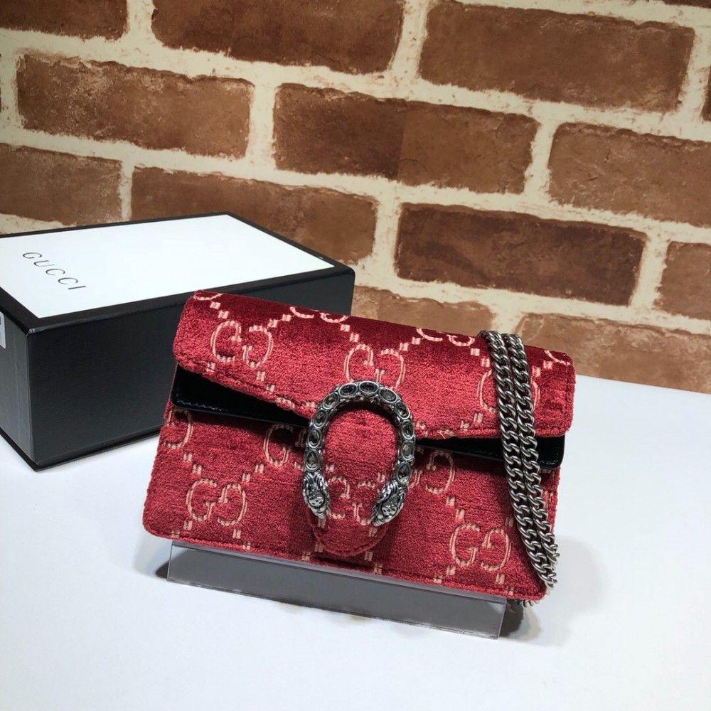 b0b501151cc Gucci Dionysus GG velvet super mini bag 476432 Red