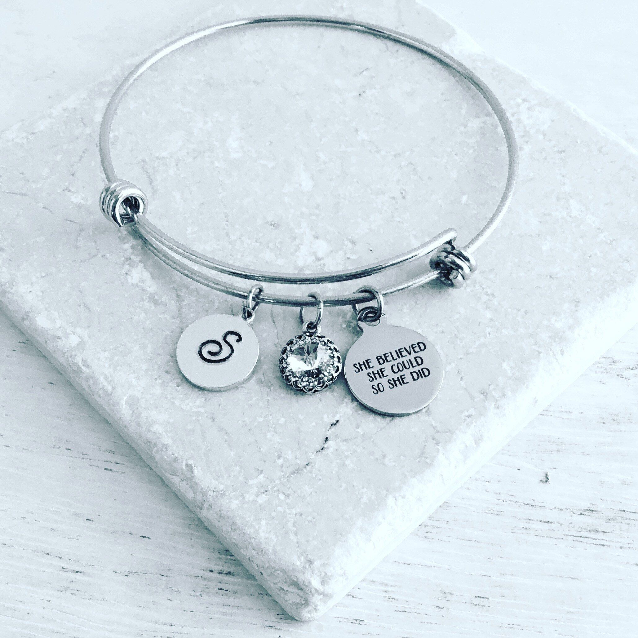 add to charm bracelet or necklace motivational inspirational gift for her sterling silver charm She believed she could so she did charm