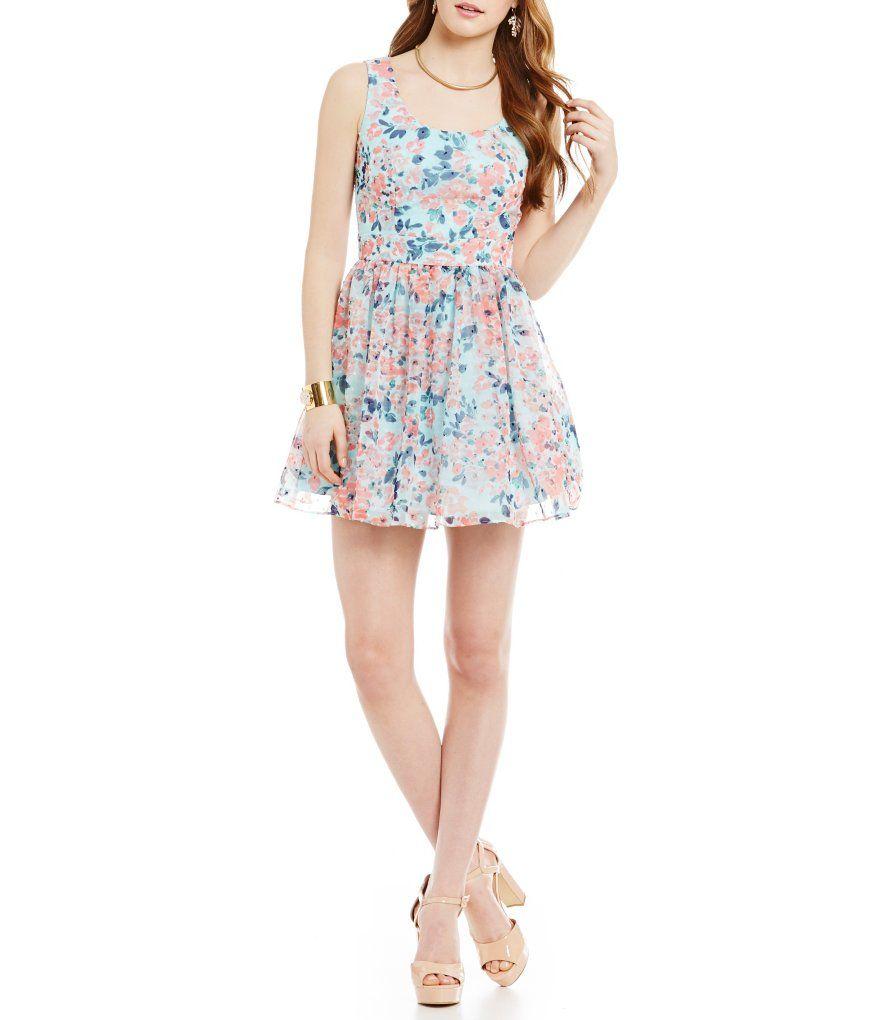 B. Darlin Sleeveless Floral Tieback Dress
