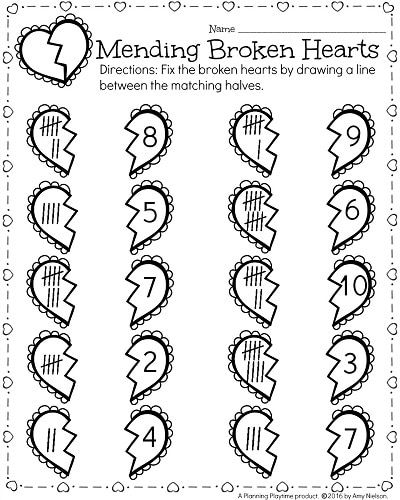 kindergarten math and literacy worksheets for february  learning  kindergarten worksheets for february  mending broken hearts valentines  theme math practice
