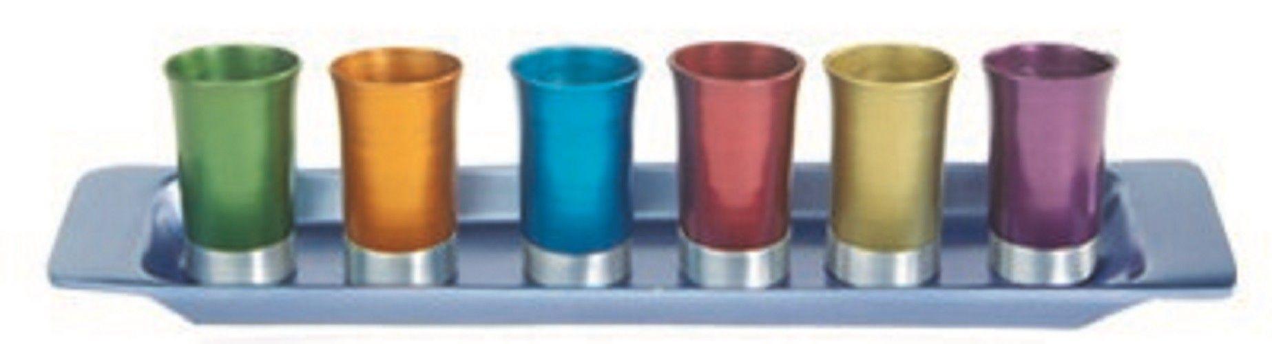 Anodized Aluminum Silver Kiddush Serving Cup Set