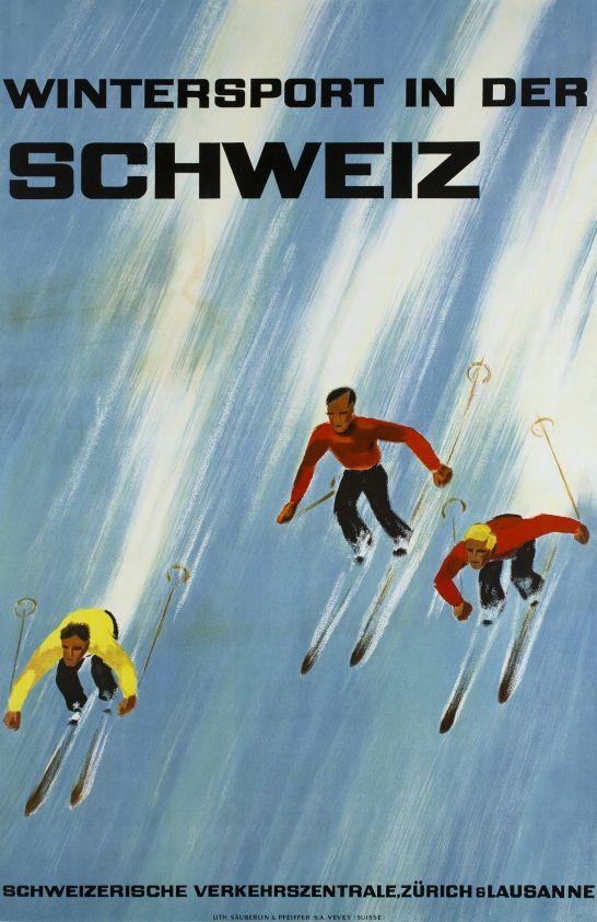 Wintersport in der Schweiz - Vintage Poster Switzerland