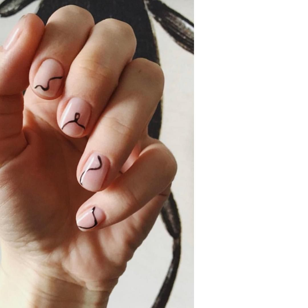 Abstract Minimal Editorial Black Line Nails Brow Down Minimal Nails Lines On Nails Nails