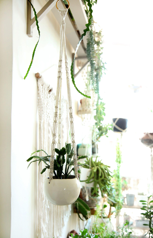 Ceramic Plant Hanger, Macrame Plant Hanger, Special Planter, Macrame Plant