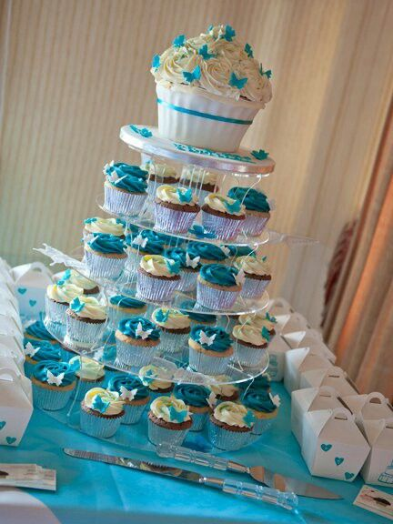 Teal And White Butterfly Giant Cupcake Wedding Cake