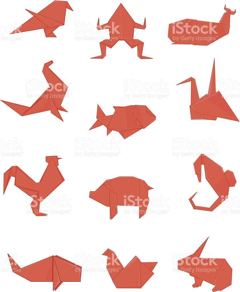 Red Origami Animals Including Bird Crane Frog Whale Fish Seal Origami Set Origami Free Vector Art