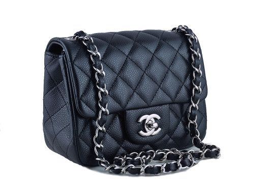 7cfcd57280db Chanel Caviar Mini Flap, Black Square 2.55 Classic Bag Shw | Luxe ...