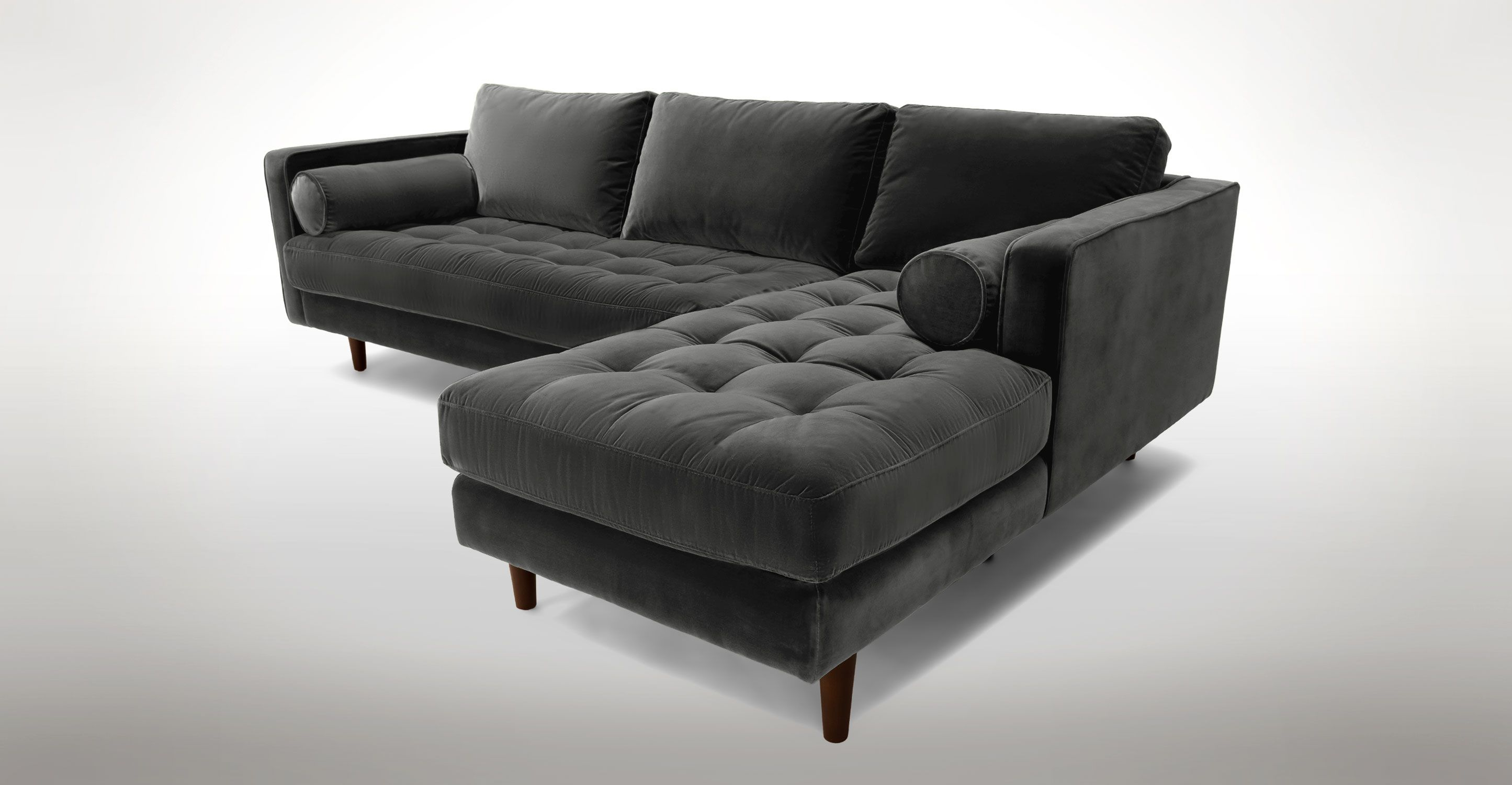 Sven Shadow Gray Right Sectional Sofa Sectionals Bryght Modern Mid Century And Sc Modern Sofa Sectional Sectional Sofa Mid Century Modern Sectional Sofa