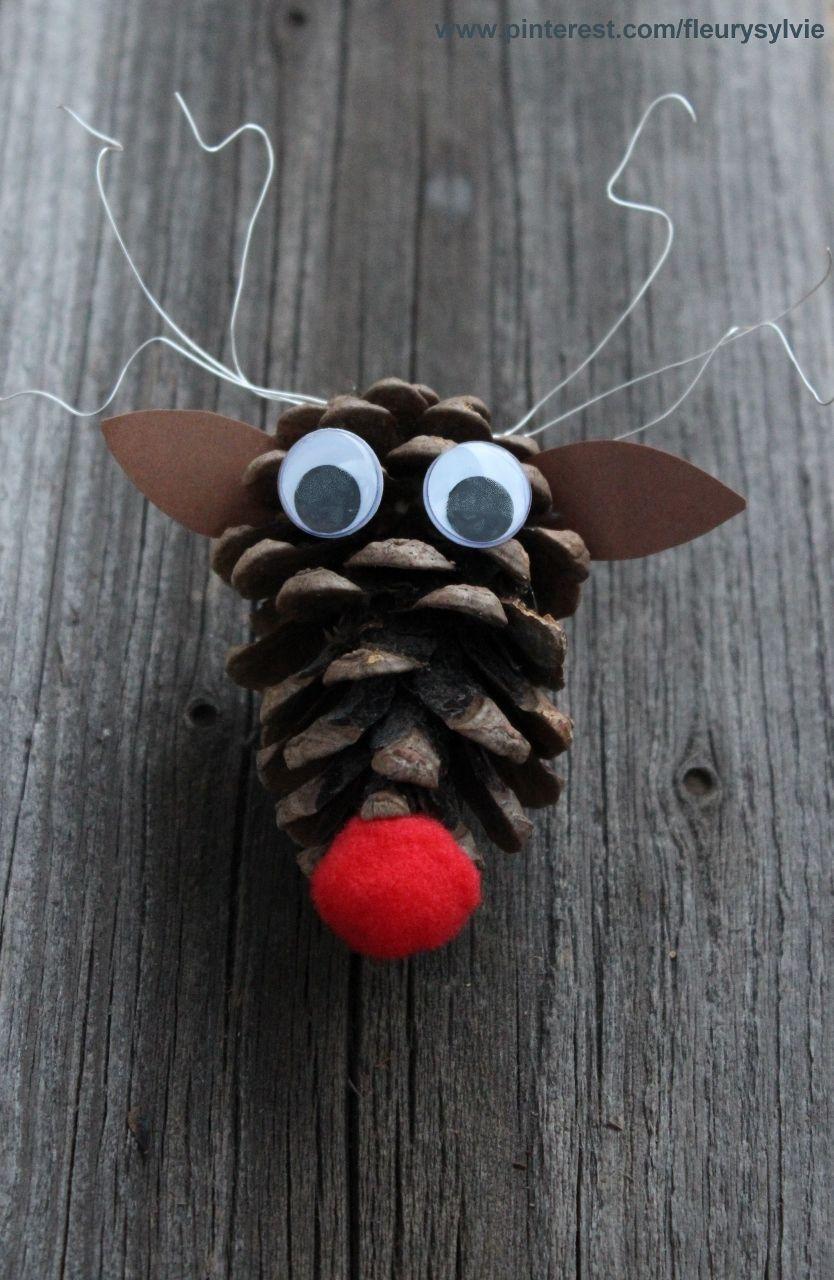 petit renne pomme de pin. bricolage enfant http://pinterest