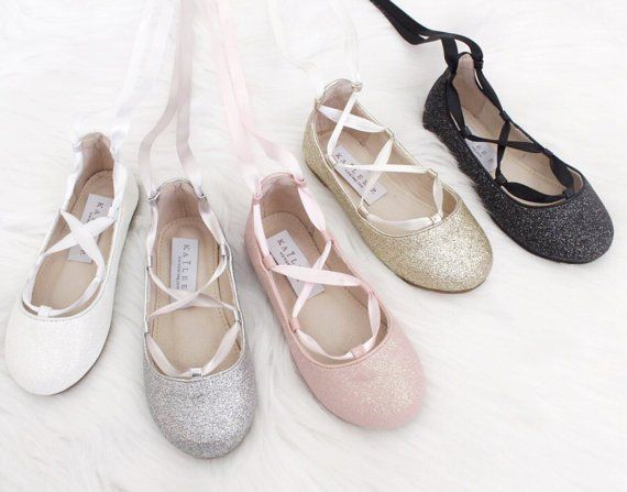 c16f269e43d Infant   Toddler girl shoes - WHITE fine glitter ballerina flats with satin  ribbon lace up