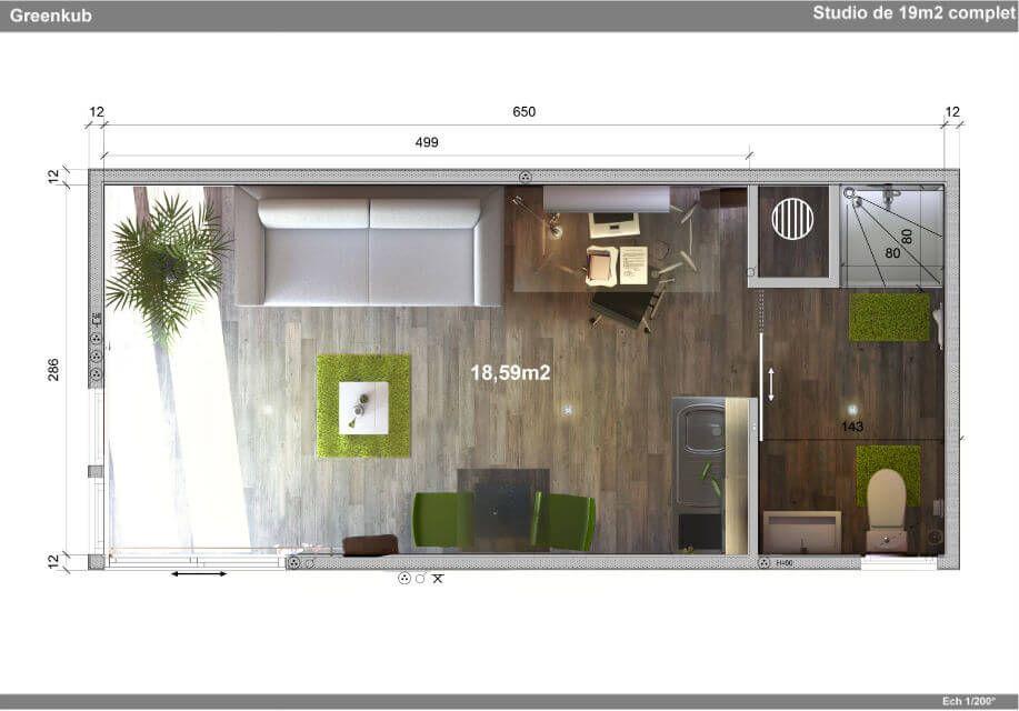 Plan Studio 20m2 Recherche Google Studio De Jardin Permis De Construire Maison