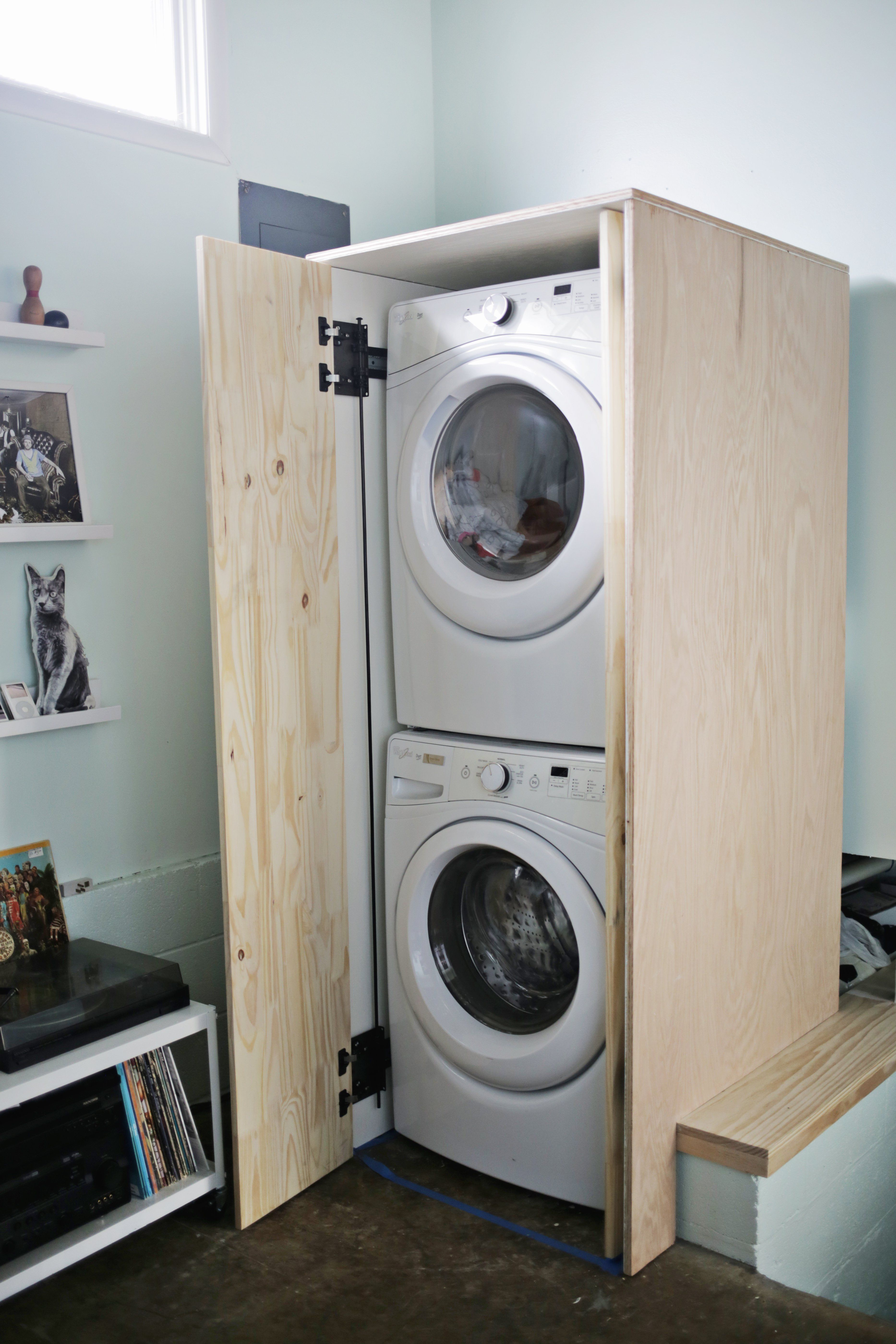 Hidden Washer And Dryer Cabinet Washer And Dryer Small Shower