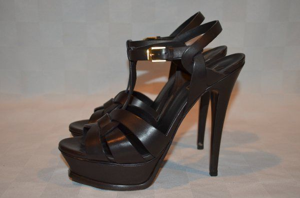 6554041094e Sz 37.5- 7 YSL Yves Saint Laurent Dark Brown Leather Tribute Strappy 5.5