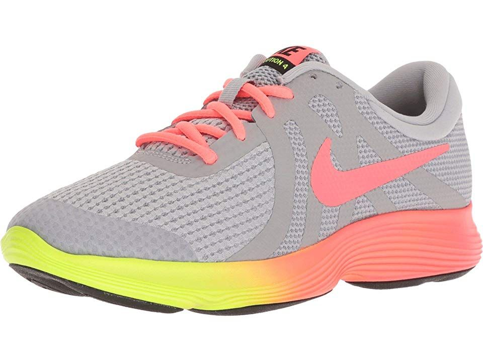 check out 5fe20 0a651 Nike Kids Revolution 4 Fade (Big Kid) Girls Shoes Wolf Grey Hot  Punch Volt Black