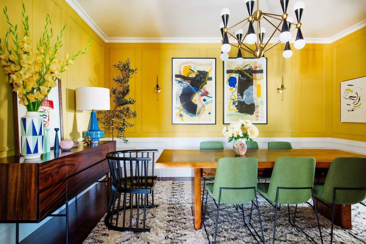 54 Stylish Dining Room Ideas To Make Your House More Colorful Stylish Dining Room Yellow Dining Room Dining Room Decor