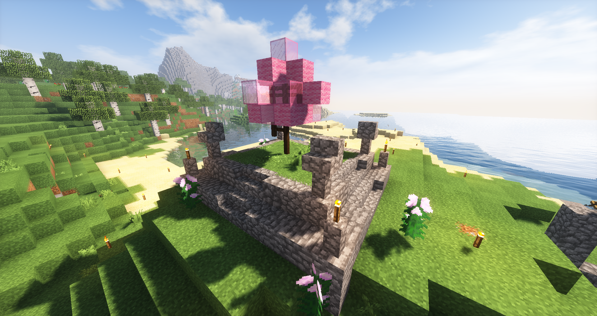 isnt much but heres a cherry blossom tree i built for my japanese build