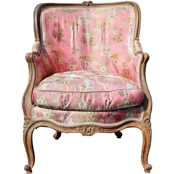Louis XV Style Walnut and Painted Bergere Chair ❤ liked on Polyvore