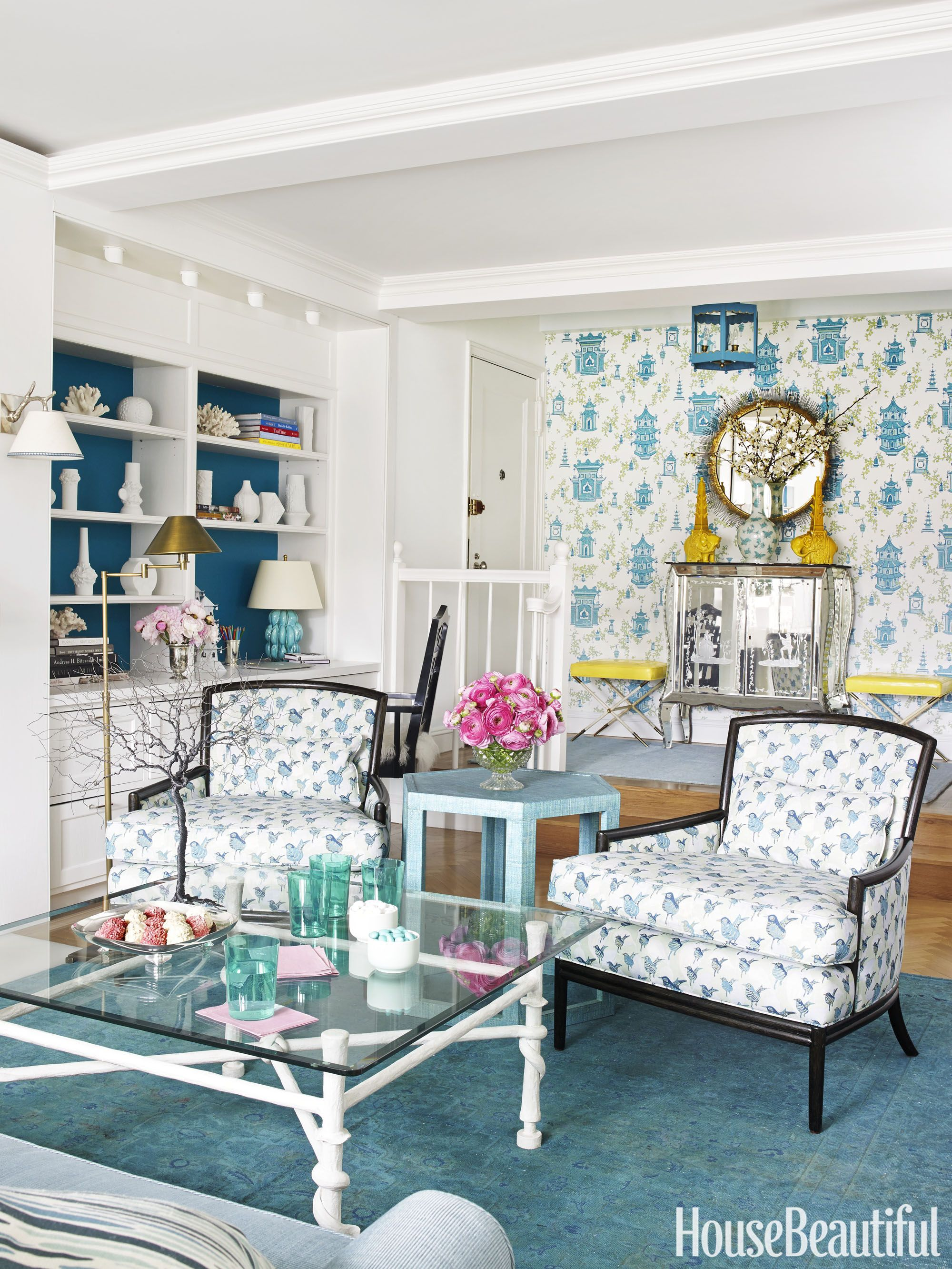 Bold Aqua And Freewheeling Patterns Bring Cheer To A One Bedroom Manhattan  Apartment. The Nonchalant Lounge Chairs By Barbara Barry For McGuire Are  Covered ...