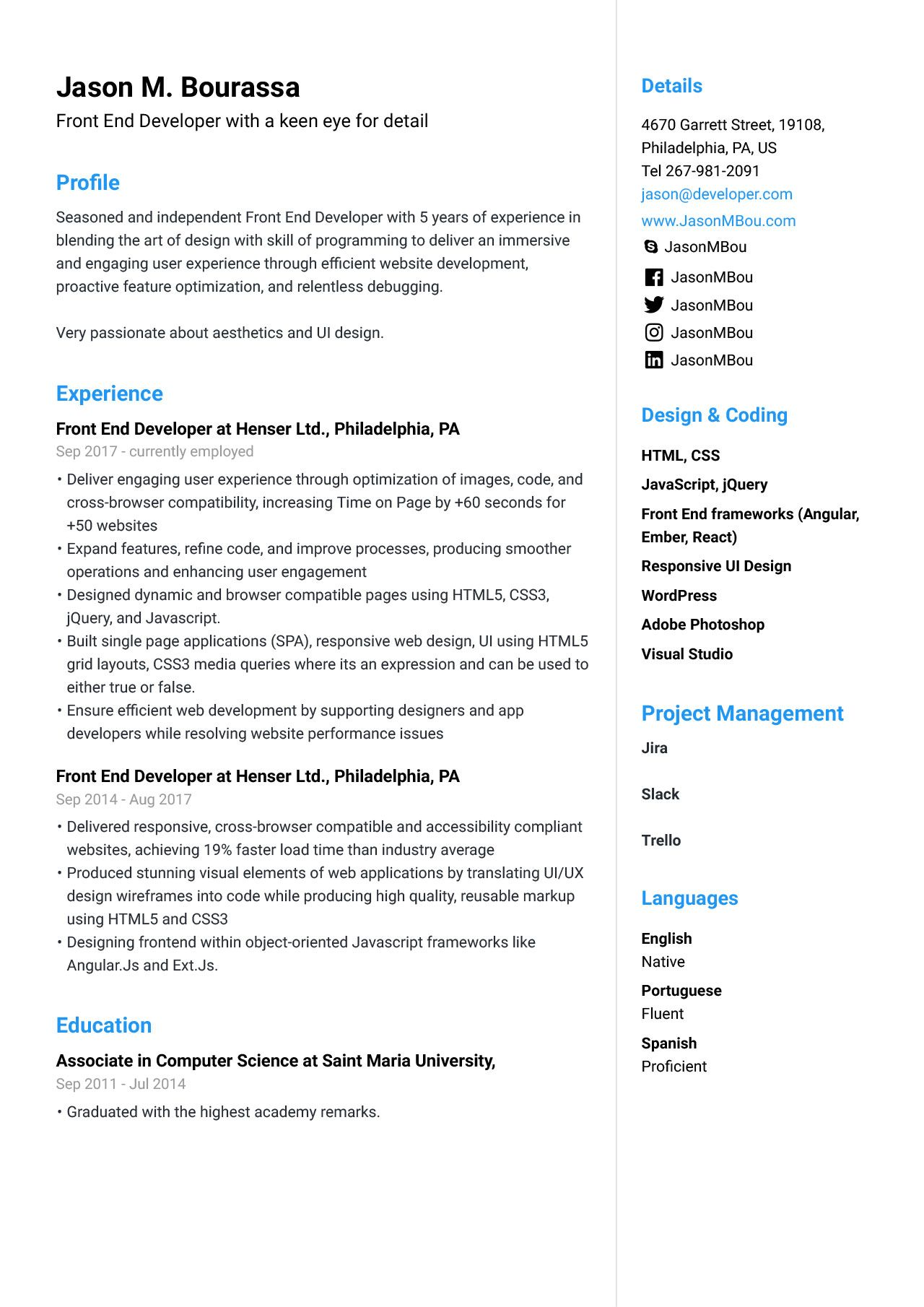 Front End Developer Resume Example Resume Examples Resume Template Professional Web Developer Resume