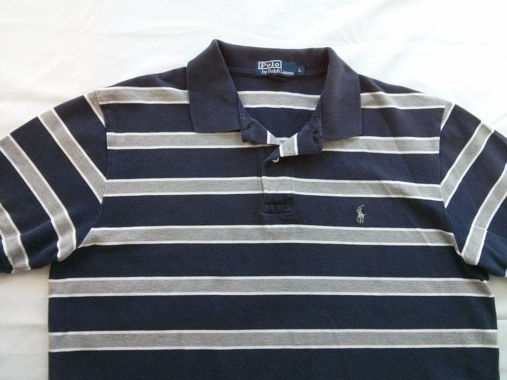 56efaba22 Ralph Lauren Polo Blue Gray Stripe Shirt Large Size L Gray Pony Short  Sleeve  RalphLauren  PoloRugby