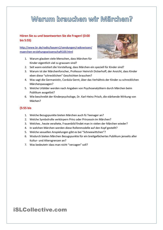 Warum brauchen wir Maerchen | school fairy tales | Pinterest ...