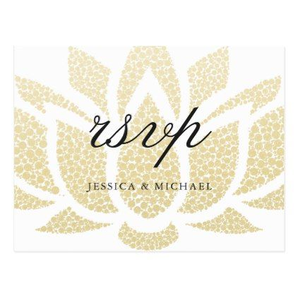Elegant Gold Lotus Flower Wedding Rsvp Postcard  Postcard Post