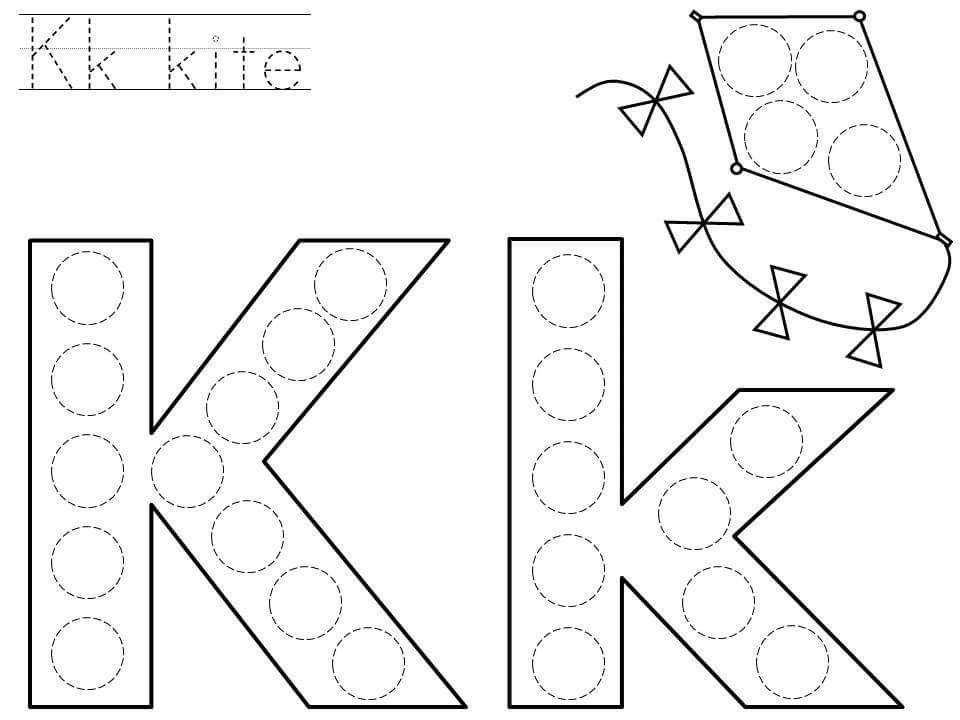 graphic relating to Letter K Printable named do-a-dot-letter-k-printable funnycrafts For Small children Dot