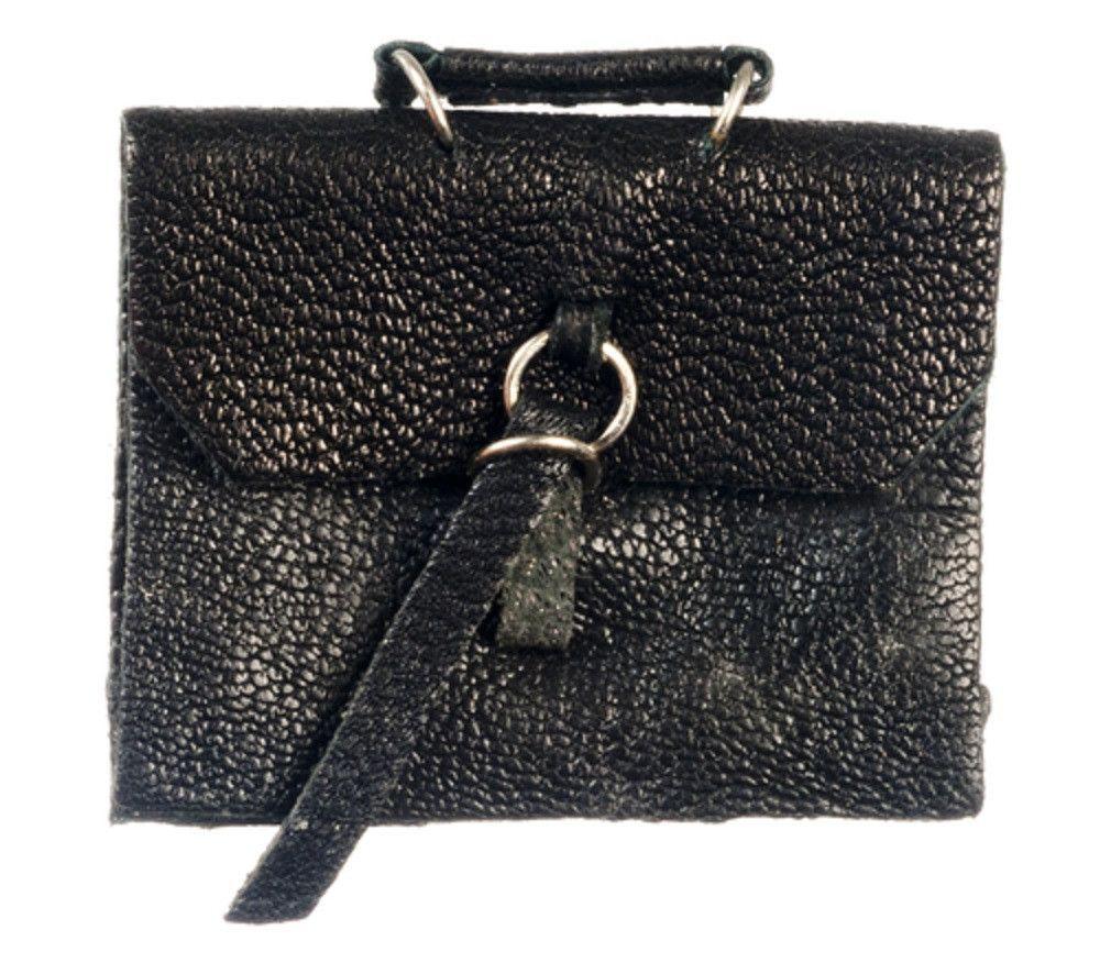Dollhouse Miniature Briefcase, Black Faux Leather #G8022BK