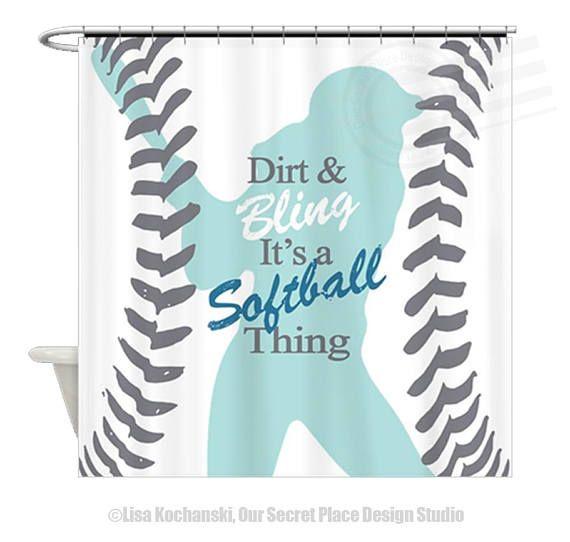 Girls Softball Shower Curtain Bathroom Decor Theme Sports