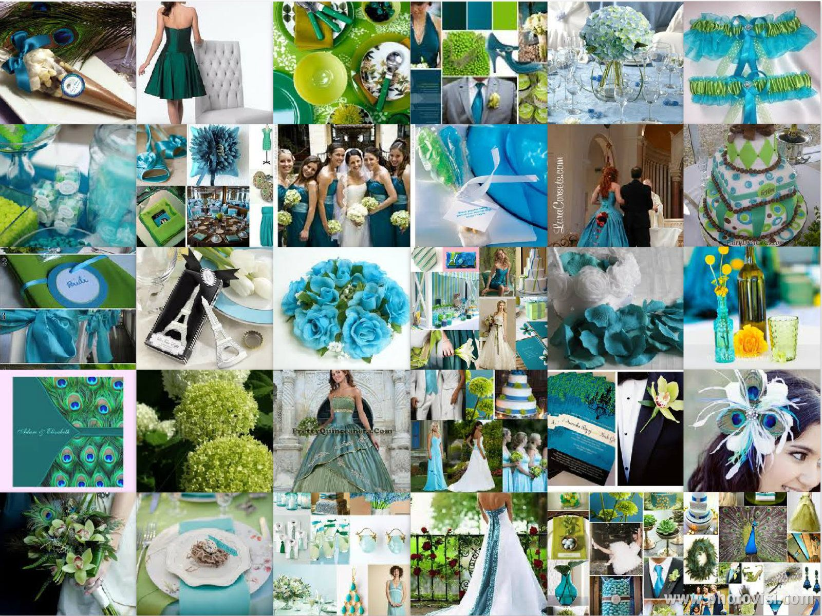 wedding colors that complement emerald green | Teal | Green | Turquoise |  Blue | Wedding
