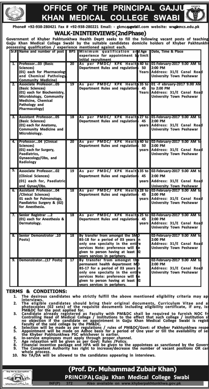 Jobs In Gajju Khan Medical College Swabi 24 January 2017 Jobs In