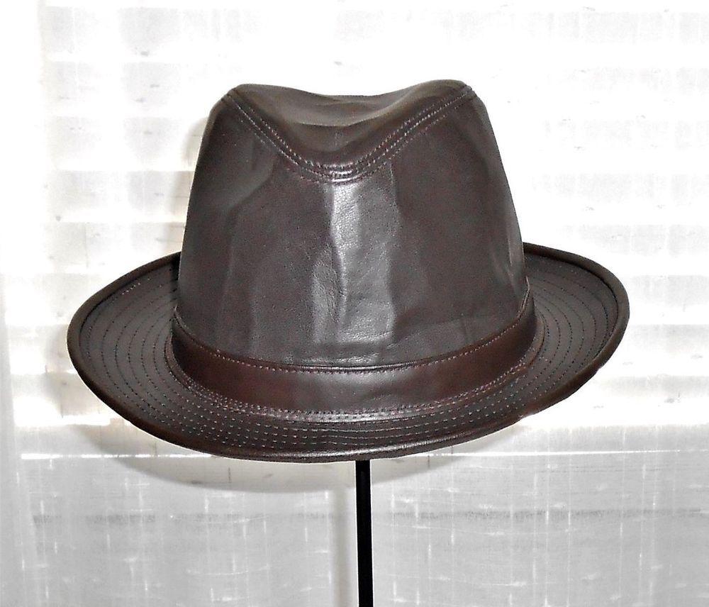 Brown Leather Indiana Jones Fedora Men s Size X Large  HenchelHatCo  Fedora 75a23423c37