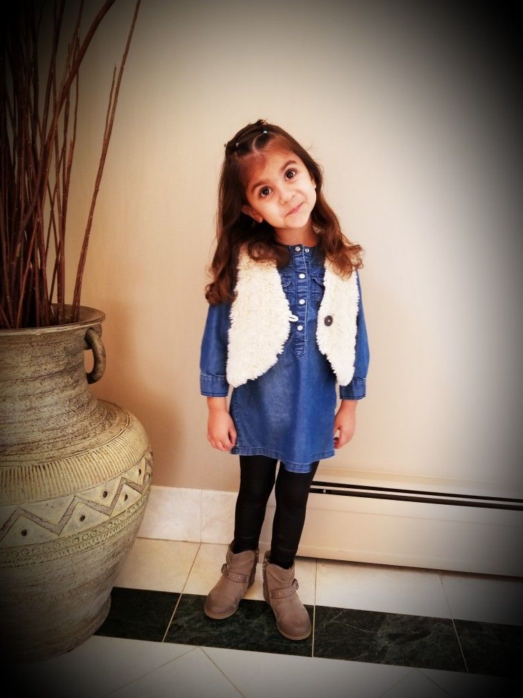 toddlerfashion Denim dress Fur vest