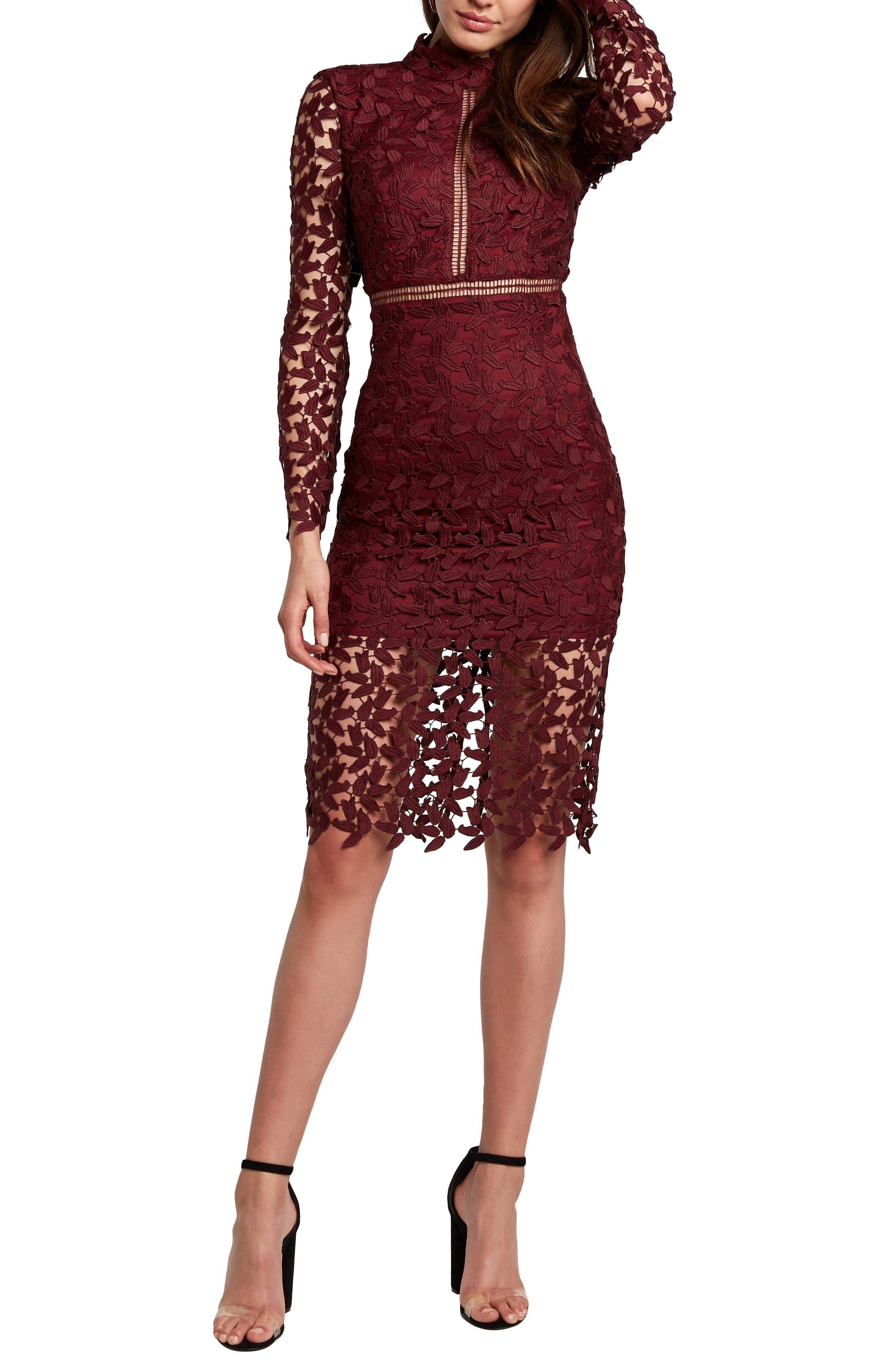 Bardot Alberta Lace Long Sleeve Body Con Dress Nordstrom Bodycon Dress Burgundy Cocktail Dress Long Sleeve Cocktail Dress [ 4048 x 2640 Pixel ]