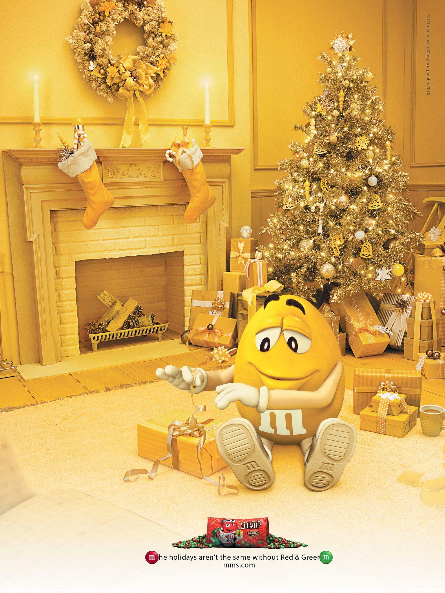 Yellow Christmas I Love This Ad Christmas Tree With Presents Christmas Decorations Christmas