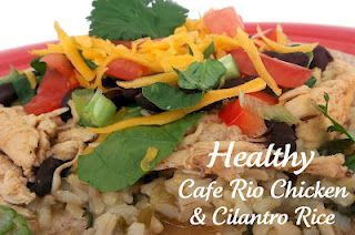 Cafe Rio Cilantro Rice Recipe: http://www.sixsistersstuff.com/2012/03/healthy-meals-monday-cafe-rio-slow.html   2 cups uncooked brown rice  - 2 cups chopped cilantro  - 1 cup salsa verde (green salsa)  - 1 bunch green onions  - 4 cups of water  - A Pinch of Salt