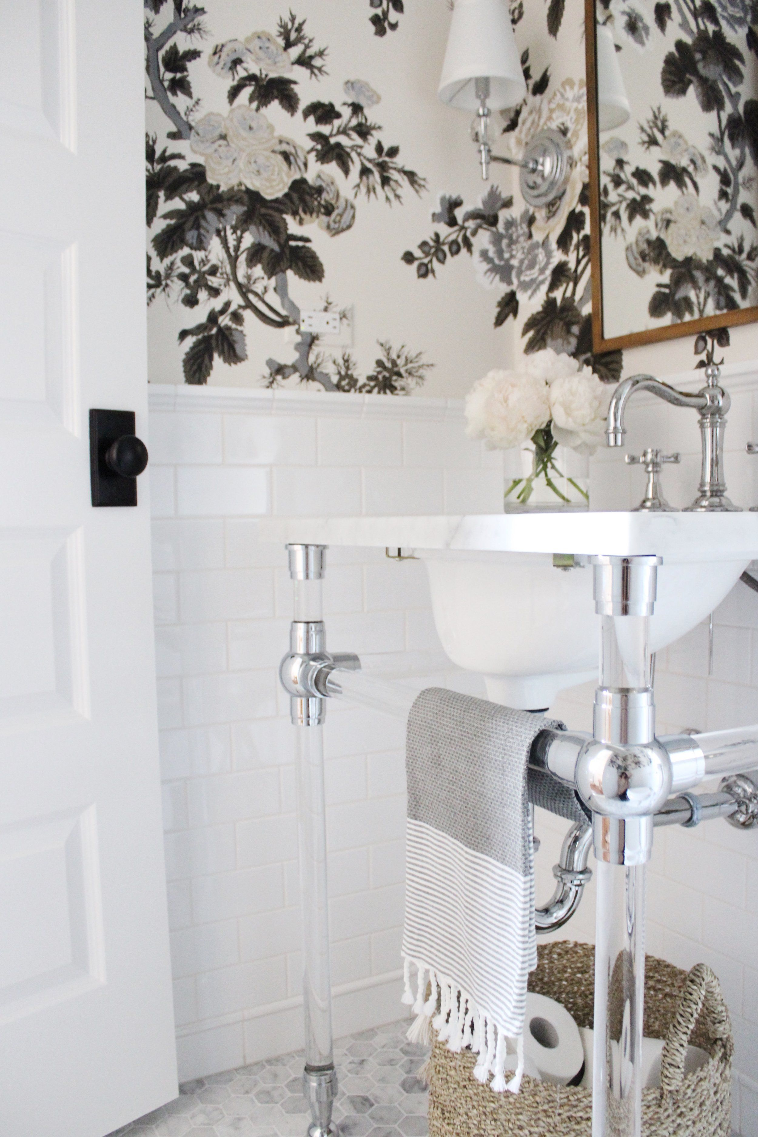 Powder Room With Rh Gl Console Sink Schumacher Pyne Hollyhock Wallpaper White Subway Tile 2 Hex Marble Flooring Traditional Styling