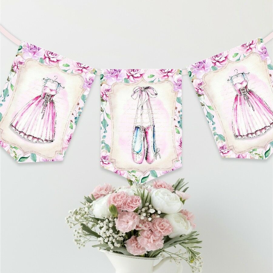 Ballerina Ballet Watercolour Pink Personalised Children/'s Bunting Party Banner