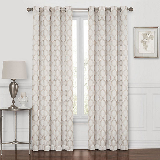 Embroidered Geometric 100 Blackout Grommet Top Curtain Panel