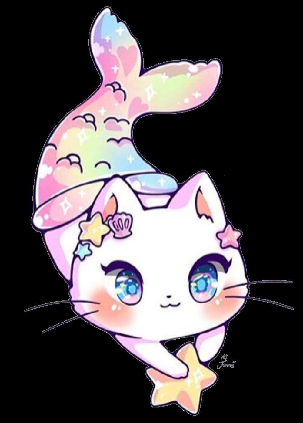 Kawaii Adorable Jenniillustrations Cat Mermaid Mermaidt Kawaii Cat Drawing Cute Cartoon Drawings Cute Animal Drawings Kawaii