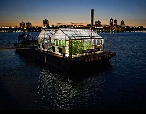 The Science Barge Greenhouse Floating On The Hudson River