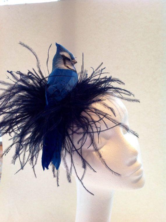 d875d7409fb80 Blue jay headband - Bird Fascinator- Blue feather - Bird headband -Derby-  cocktail hat-handmade in USA Birds are good, flowers are good, put em  together!